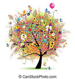 helgdag, rolig, lycklig, träd, baloons