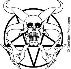 helvete, -, pentagram, underteckna