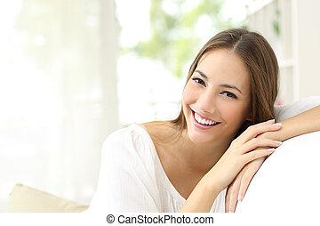 hem, le, vit, kvinna, skönhet