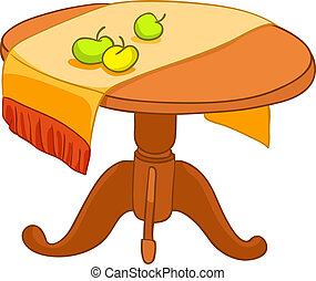 hem, möblemang, tecknad film, bord