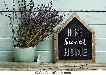 hem, söt, text, house-shaped, skylt