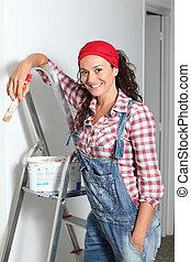 hem, väggar, kvinna, målning, färsk
