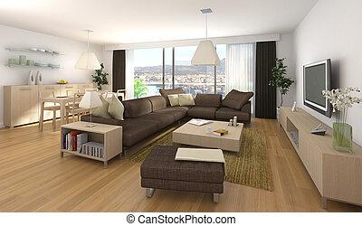 heminredning, lägenhet, nymodig