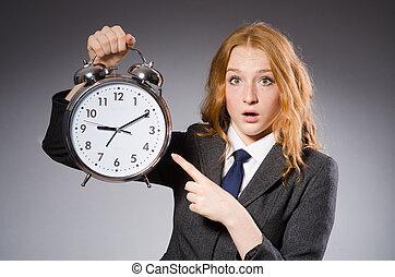 henne, klocka, existens, affärskvinna, deliverables, sent