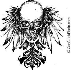 heraldik, kranium, illustration