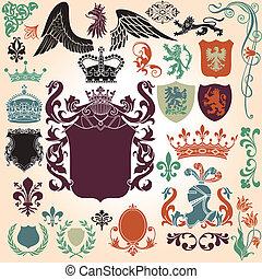 heraldik, prydnad, sätta