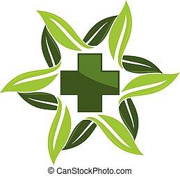 herbal, vektor, design, mall, medicin, logo