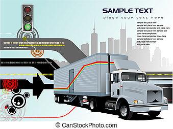 high tech, abstrakt, vektor, lastbil, bakgrund, image.