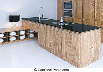 high tech, render, golvmaterial, design, inre, vit, kök, 3