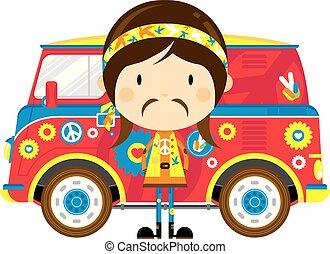 hippie, skåpbil, retro, tecknad film
