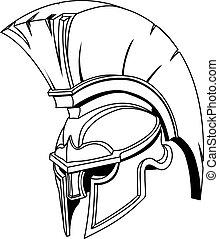 hjälm, eller, trojan, spartan, grek, illustration, romersk, gladiator