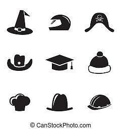 hjälm, sätta, ikonen, vektor, svart hatt