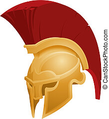 hjälm, spartan, illustration