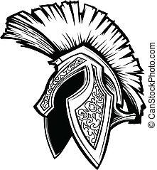 hjälm, spartan, vektor, trojan, maskot