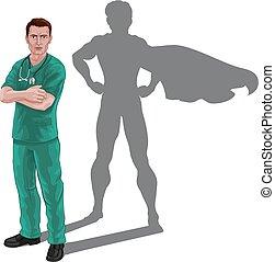 hjälte, läkare, toppen, superhero, sköta, skugga