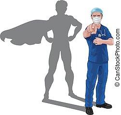 hjälte, skugga, toppen, läkare, sköta, superhero