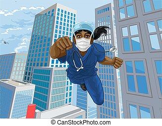 hjälte, superhero, läkare, toppen, sköta, flygning, skura