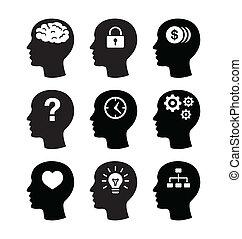 hjärna, hörlurar, vecotr, ikonen