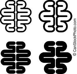 hjärna, symbol, svart, mänsklig