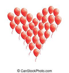 hjärta, abstrakt, balloon, röd