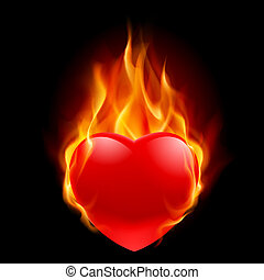 hjärta, brännande