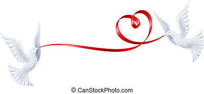 hjärta, duvor, band, bilda