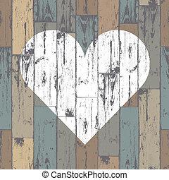 hjärta, eps10, trä, bakgrund., vektor, vit