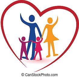 hjärta, familj, röd, logo