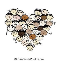hjärta gestalta, folks, design, din, lycklig