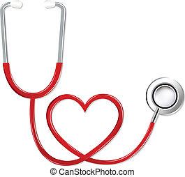 hjärta gestalta, stetoskop