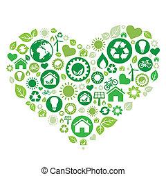hjärta, grön
