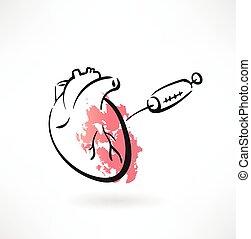 hjärta, grunge, ikon, behandling
