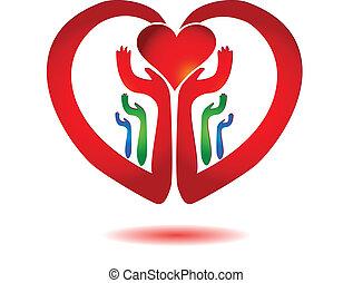 hjärta, ikon, vektor, gårdsbruksenheten räcker