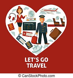 hjärta, ikonen, affisch, resa, semester, lägenhet, eller, vektor, resande, resa