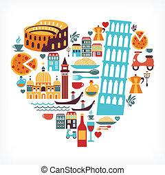 hjärta, kärlek, ikonen, -, form, vektor, italien