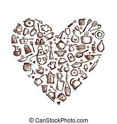 hjärta, kärlek, skiss, cooking!, utensils, form, design, din, kök