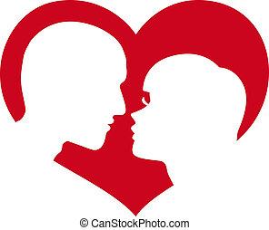 hjärta, kvinna, silhuett, man