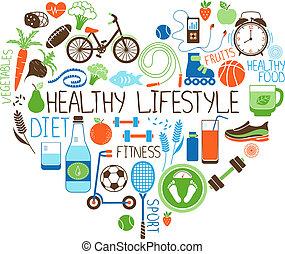 hjärta, livsstil, kost, underteckna, fitness, hälsosam