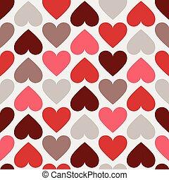 hjärta mönstra, seamless, illustration, vektor, röd