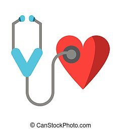 hjärta, medicinsk, stetoskop, symbol