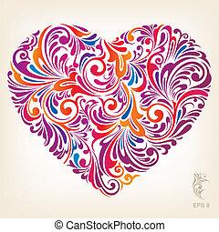 hjärta, ornamental, färgad, mönster