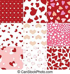 hjärta, repeterat, kärlek, mönster