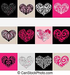 hjärta, set., love., illustration, bakgrund., vektor