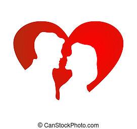 hjärta, silhuett, mot, flicka, grabb, röd