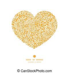 hjärta, silhuett, spets, gyllene, mönster, ram, ro, vektor