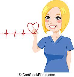 hjärta, sköta, teckning