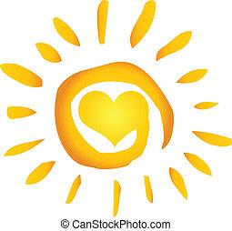 hjärta, sol, varm, abstrakt, sommar