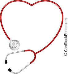 hjärta, symbol, stetoskop