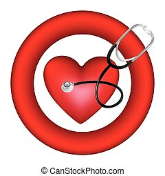 hjärta, symbol, stetoskop, ikon