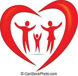 hjärta, symbol, vektor, familj